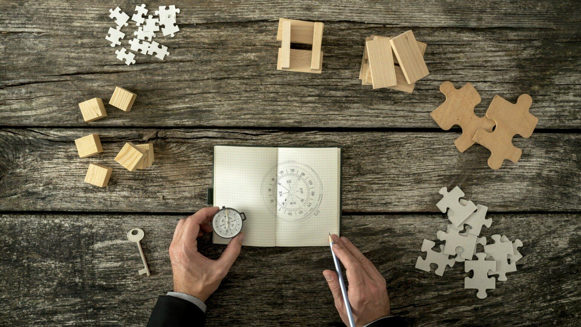 Sicht von oben auf ein Notizblock, in das ein Kompass gezeichnet ist. Ein Mann hält einen Kompass daneben. Puzzleteil sind rundherum angeordnet.