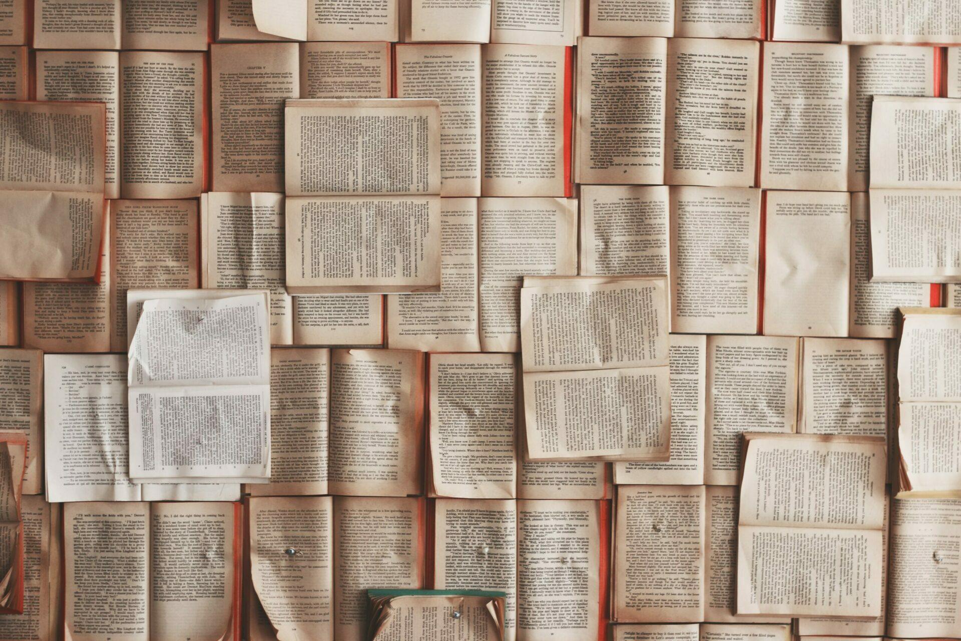 Sicht von oben auf aufgeschlagene Bücher.