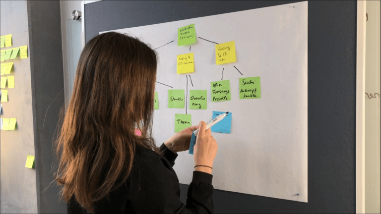 Photo of a woman pinning notes on a whiteboard to create a mind map.