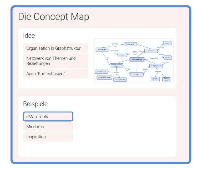 Screenshot einer Infinity Map zum Thema Concept Map mt iMapping.